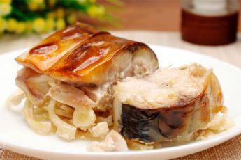 Скумбрия, запеченная порционно в горчичном соусе. Простой рецепт