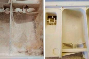Как легко очистить лоток стиральной машины от закаменелого порошка