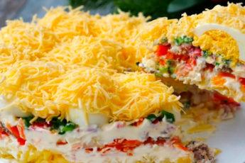 Праздничный салат «Сугробы». Украсит любое торжество!