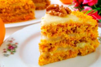 Постный морковный торт с апельсиновым кремом и орехами