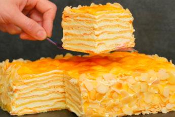 Потрясающий домашний торт «Пломбир» с ароматным заварным кремом. Для всех любителей торта «Наполеон» и «Карпатка»