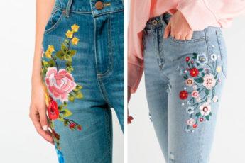 Восхитительные образцы вышивки и аппликации на джинсах