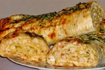 Идеальный завтрак – вкуснейший лаваш с куриным филе и сыром в духовке