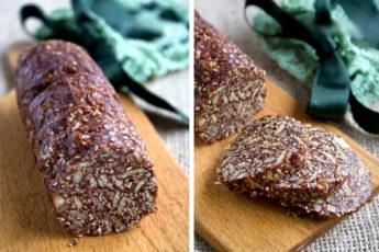 Шоколадное салями с орехами и кунжутом — волшебный десерт!