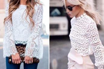 Идеи легких блуз с кружевом