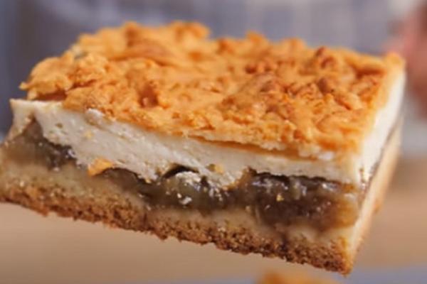 Пирог с начинкой из творога и яблок